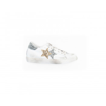 SNEAKERS LOW BIANCO/ARG/ORO